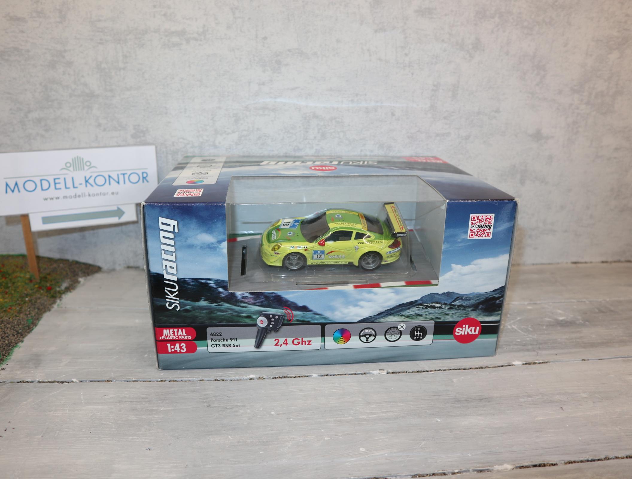 Siku 6822 1:43 Siku-Racing Porsche 911 gelb-grün WEISS komplett in OVP