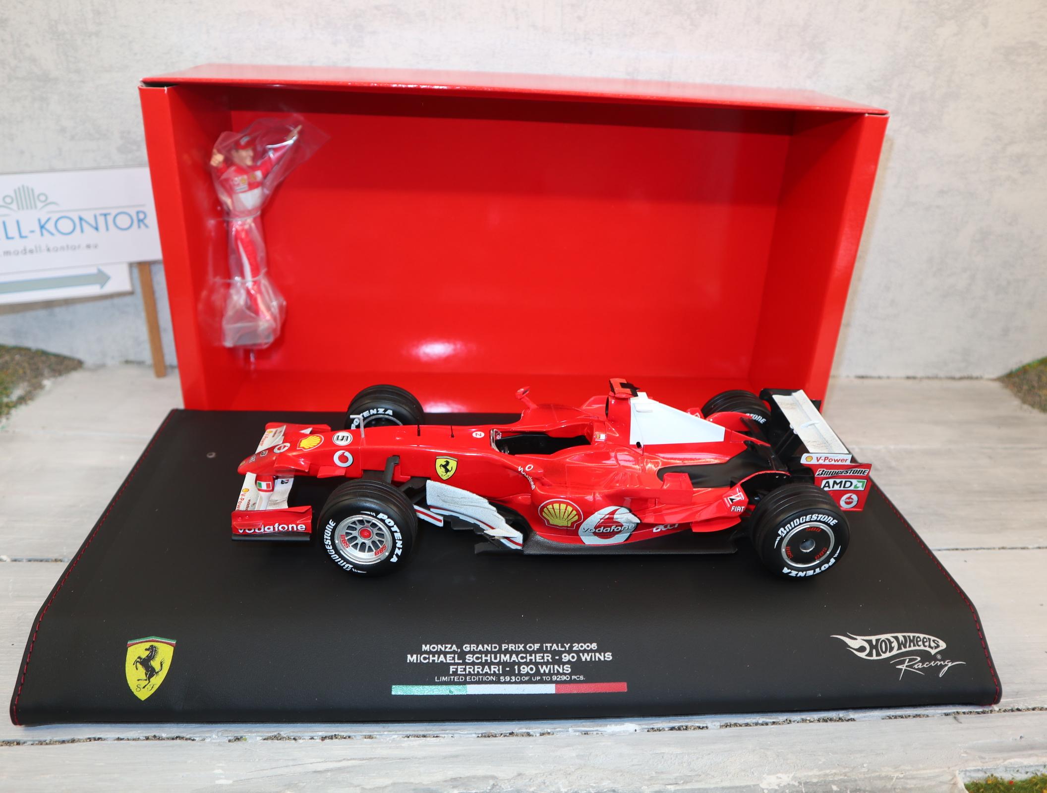Hot Wheels J2994 1:18 Michael Schumacher Sieg in Monza 10.09.06 komplett in OVP