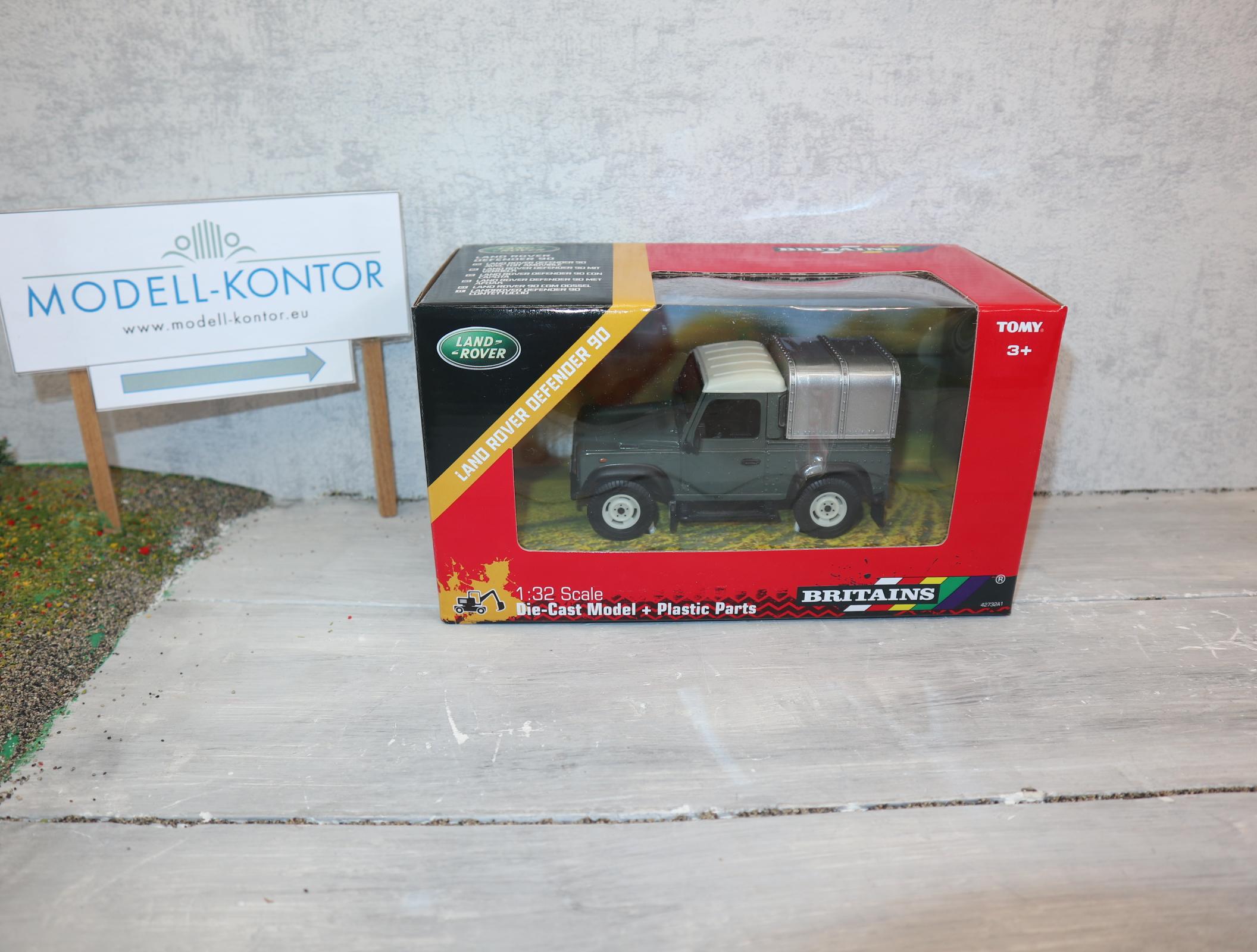 Britains 42732 Land Rover Defender 90 in grün mit Metall-Verdeck OVP