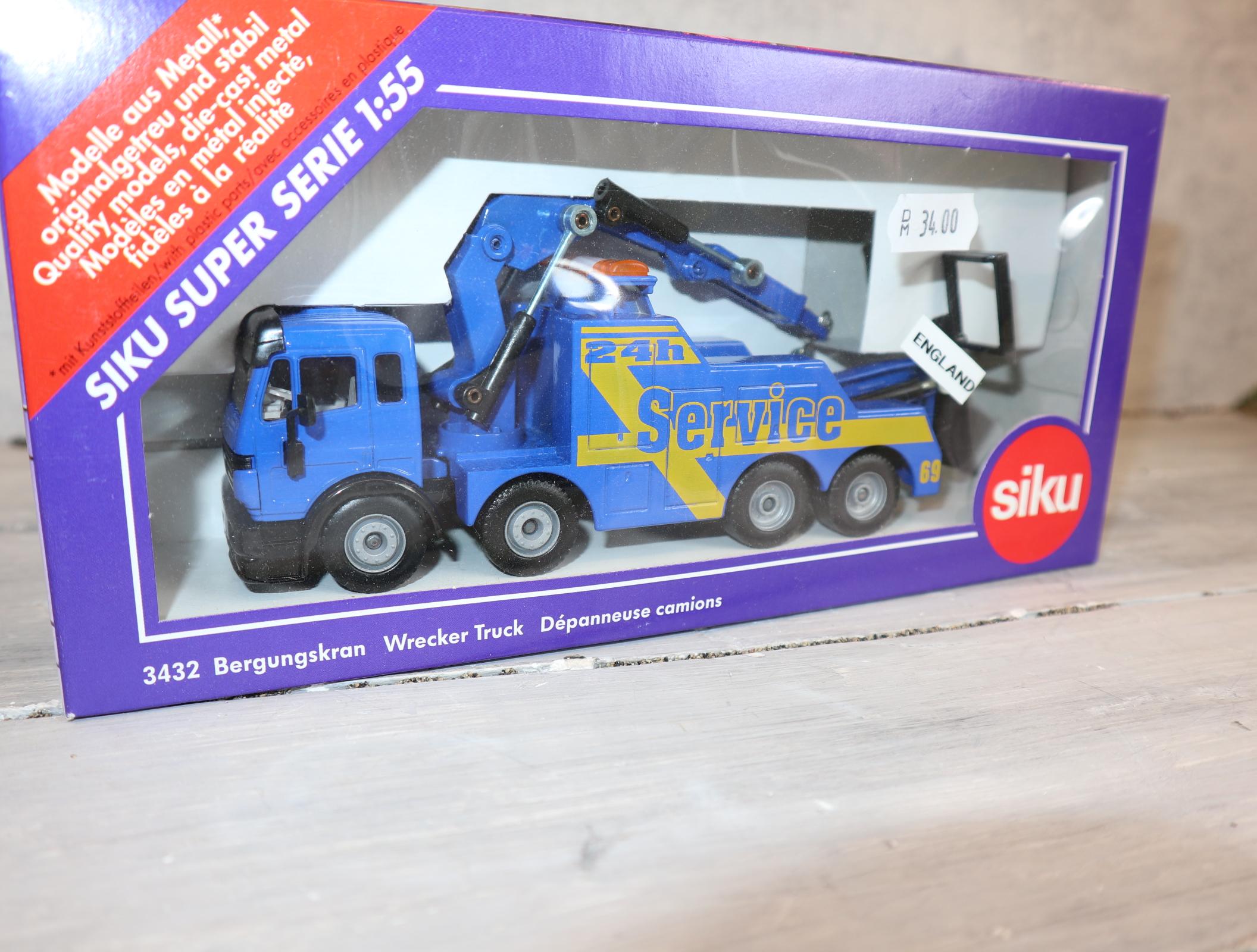 Siku 3432 in 1:55 Bergungskran BLAU 24h Service Sondermodell aus England