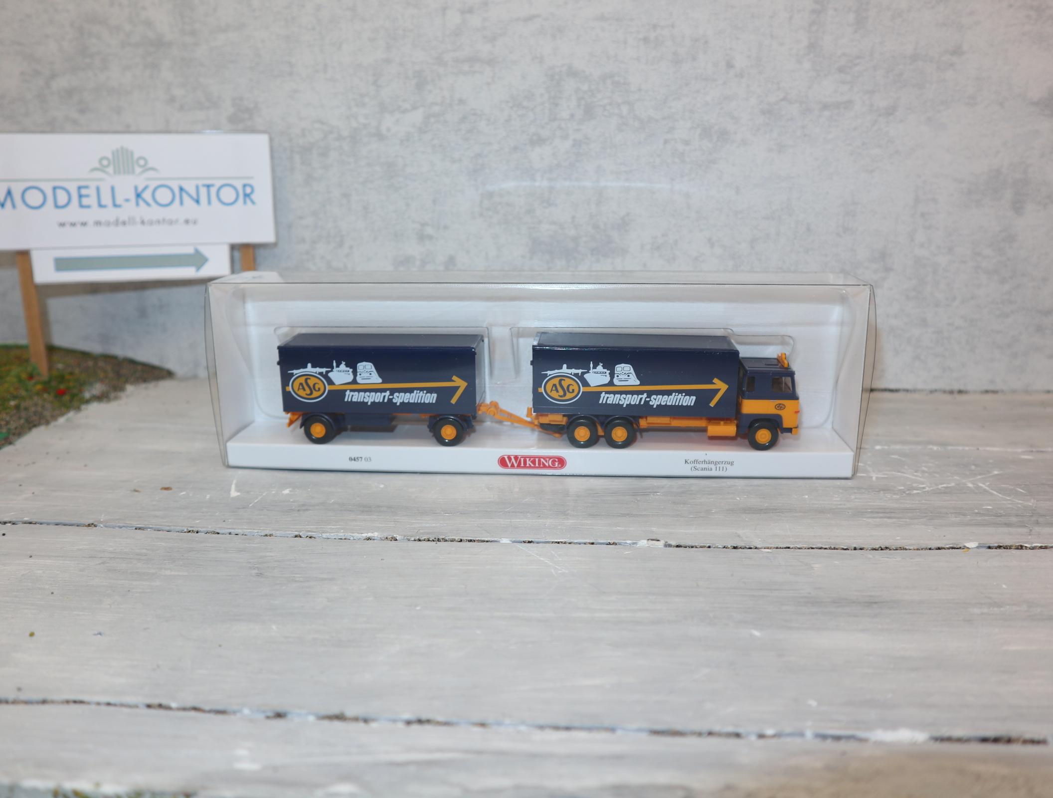 Wiking 1:87 045703 ASG Koffersattelzug Scania 111