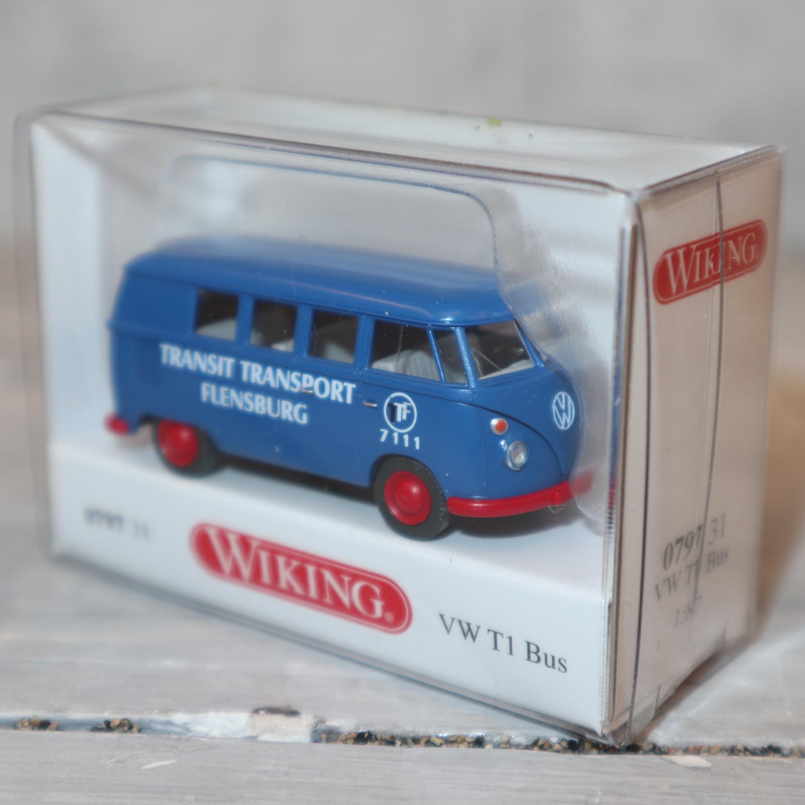 """Wiking 079731 1:87 VW T1 Bus """"TRANSIT Transport Flensburg""""  blau NEU in OVP"""